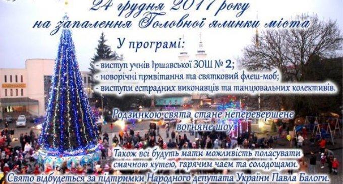 У неділю в Іршаві відбудеться урочисте запалювання святкових вогнів на ялинці